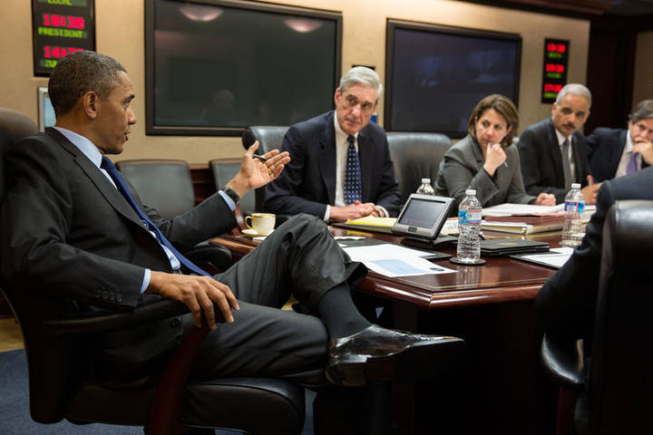 WASHINGTON, DC - APRIL 19: In this handout provided by the White House, U.S. President Barack Obama (L) meets with members of his national security team to discuss developments in the Boston bombings investigation, in the Situation Room of the White House on April 19, 2013 in Washington, DC. Seated with the President are FBI Director Robert Mueller, Lisa Monaco, Assistant to the President for Homeland Security and Counterterrorism, Attorney General Eric Holder, Deputy National Security Advisor Tony Blinken and U.S. Vice Persident Joe Biden. (Photo by Pete Souza/The White House via Getty Images)